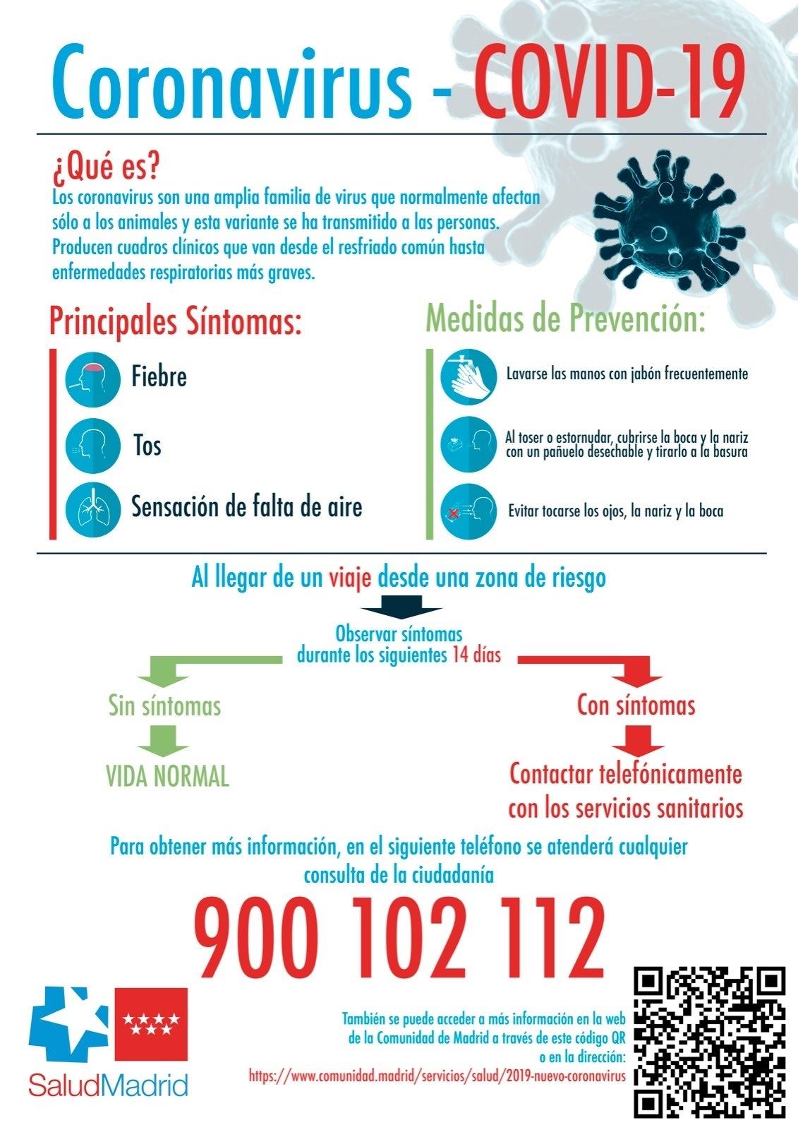 Cartel indicaciones coronavirus comunidad de madrid