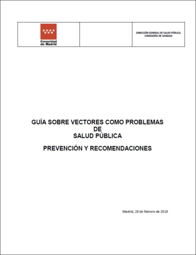 Imagen de la portada de la publicación Guía sobre vectores como Problema de salud pública. Prevención y recomendaciones