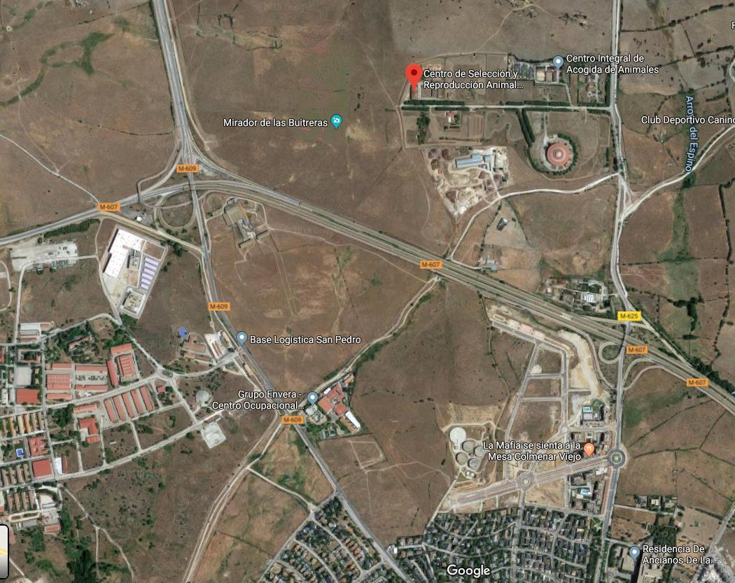 Mapa del lugar de celebración de la Despensa de Madrid en Colmenar Viejo