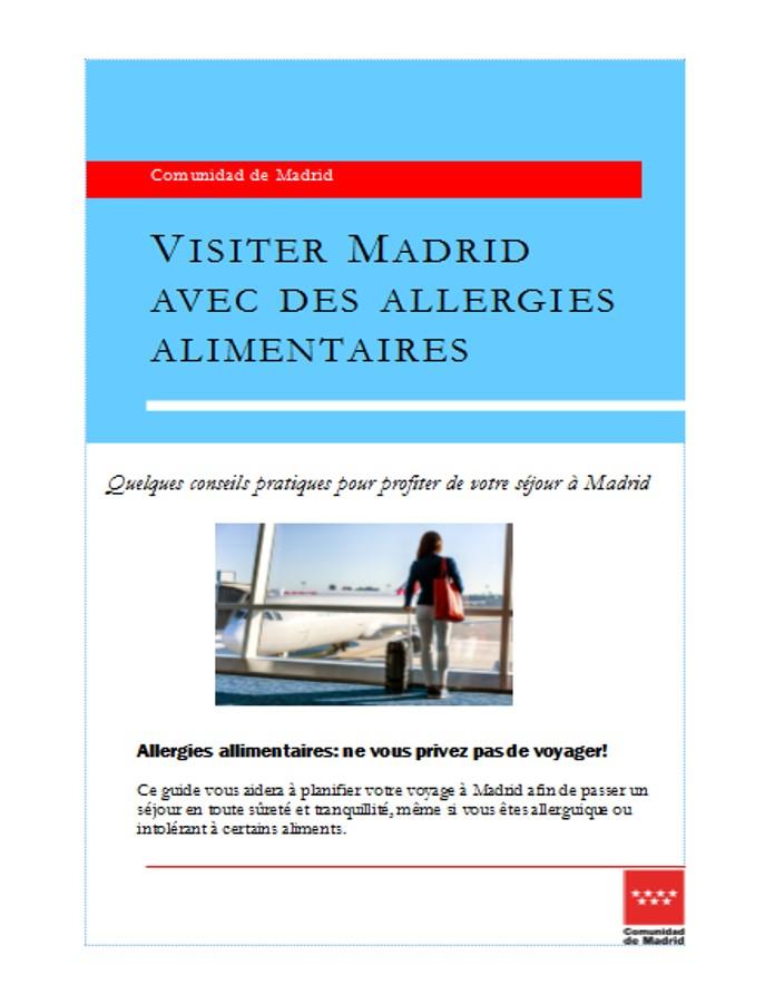 Portada folleto Viajar a Madrid con alergias alimentarias en francés
