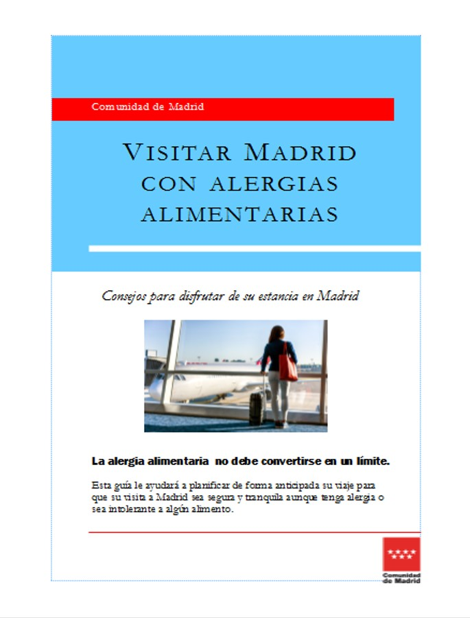 Portada folleto Viajar a Madrid con alergias alimentarias en castellano
