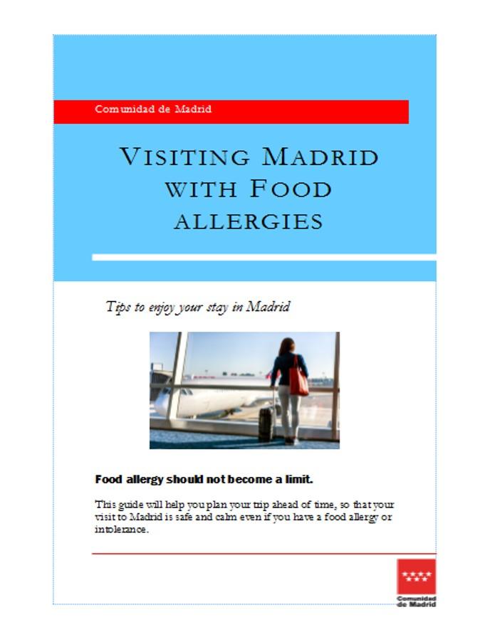 Portada folleto Viajar a Madrid con alergias alimentarias en inglés