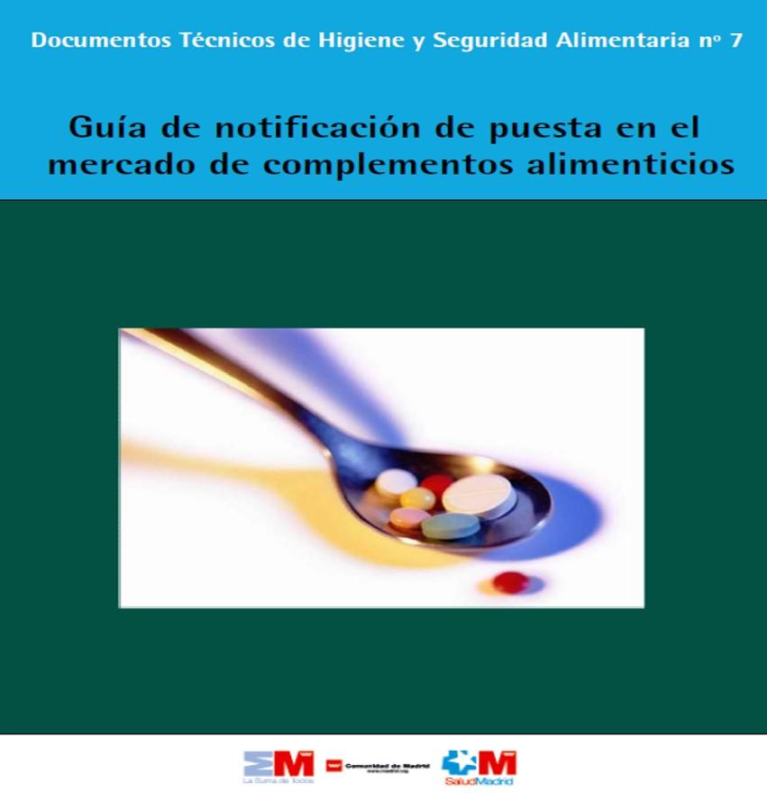 Portada de la guía de notificación de comercialización de complementos alimenticios
