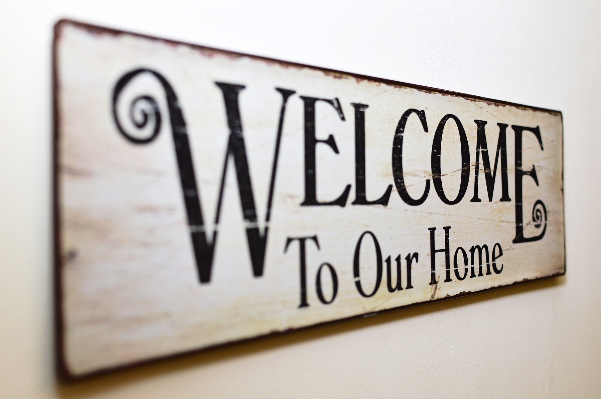 Cartel con Welcome our home