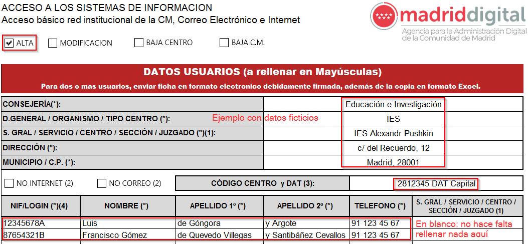 Ejemplo rellenado del formulario de solicitud de usuario en Madrid Digital