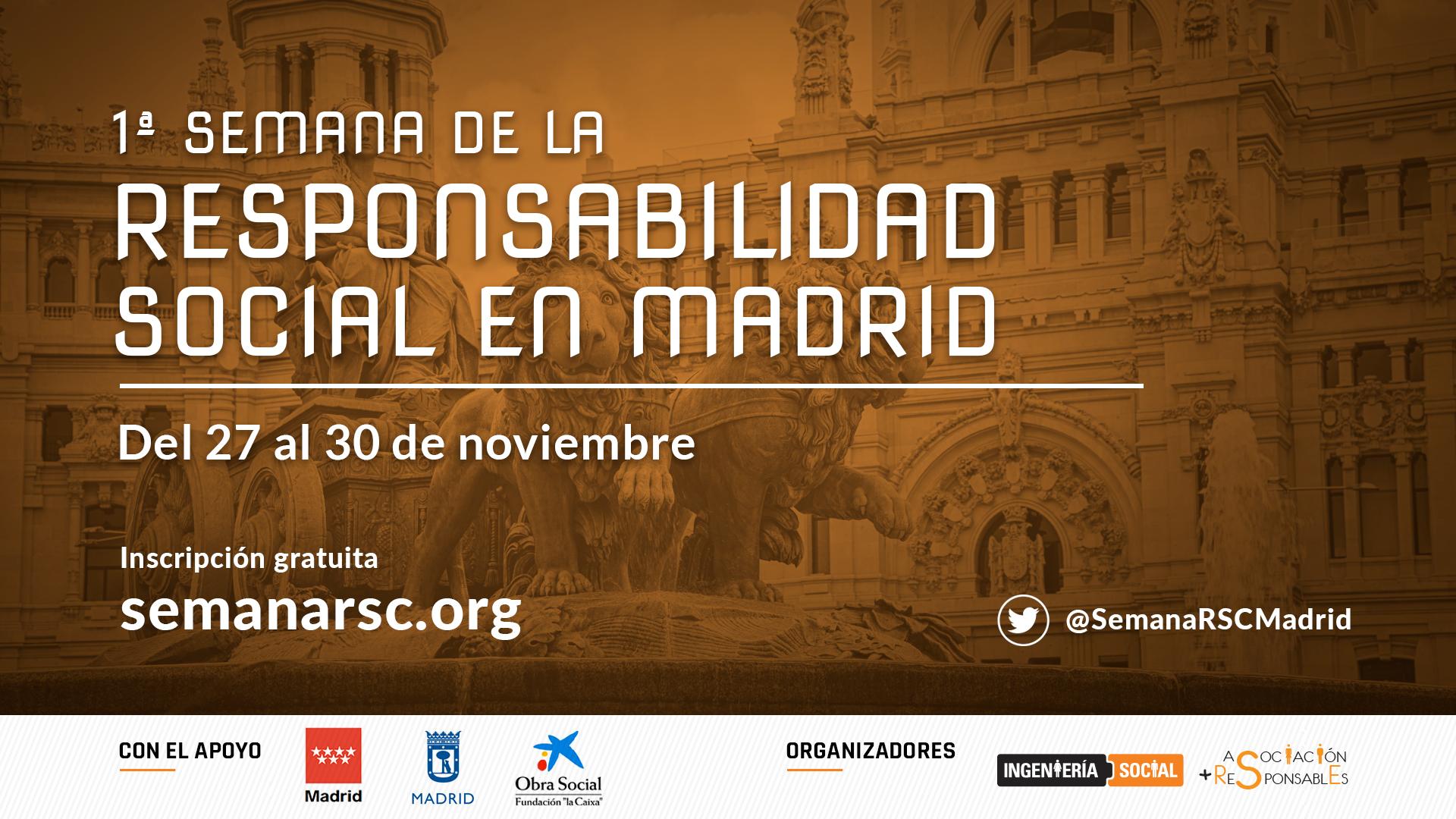 Imagen con el texto 1ª Semana de la Responsabilidad Social de Madrid