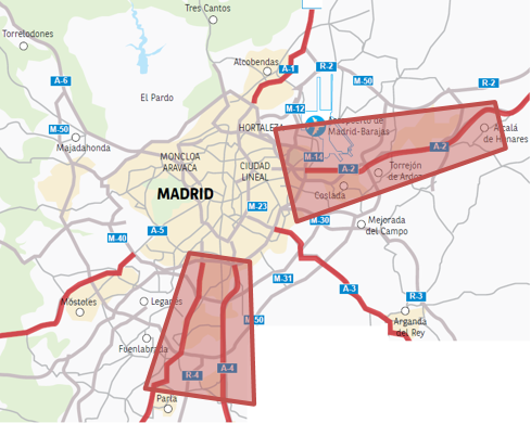 Imagen que destaca los principales corredores logísticos de la Comunidad de Madrid alrededor de la A-2 y la A-4