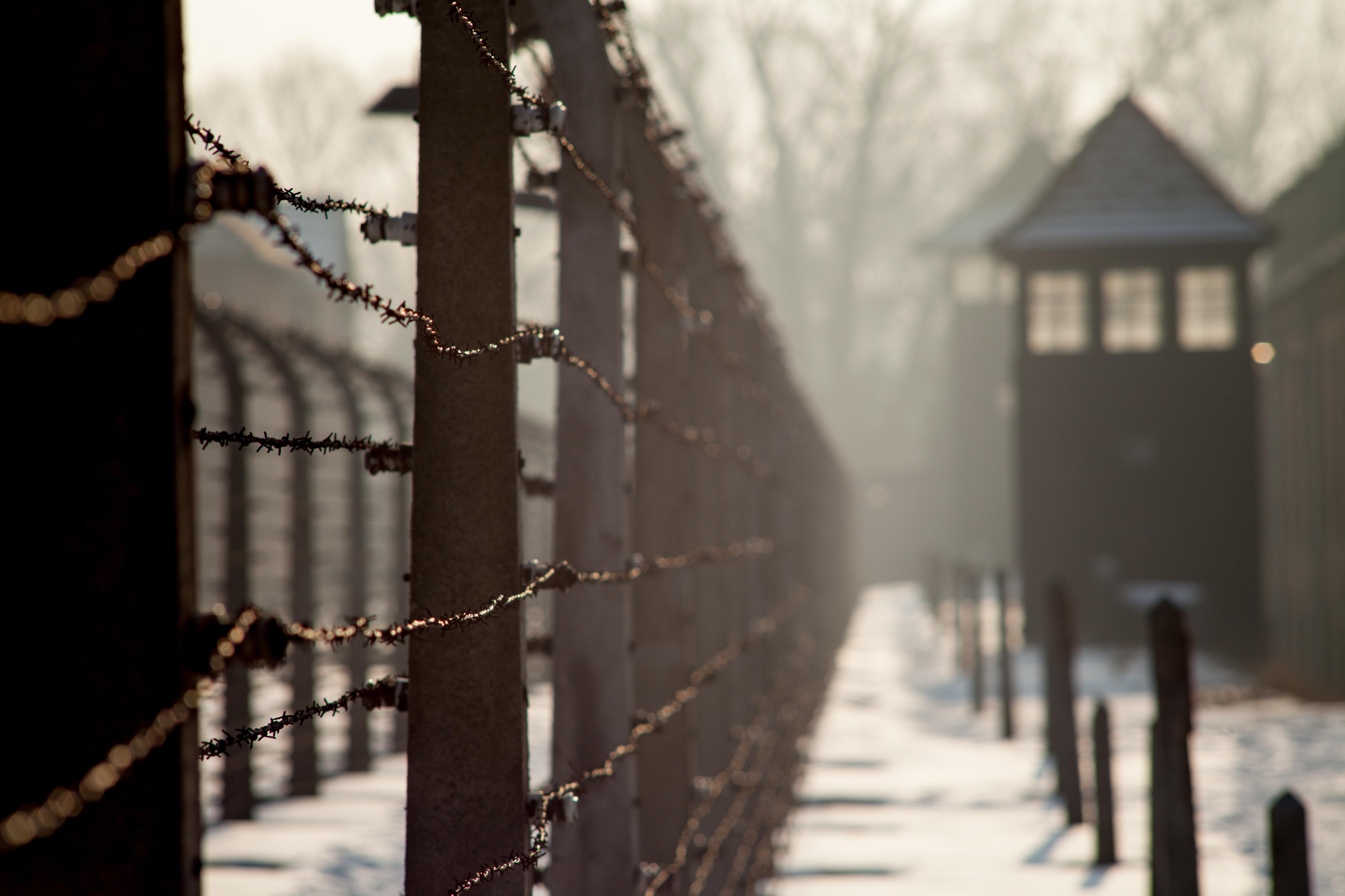 Valla con pinchos del campo de concentración de Auschwitz