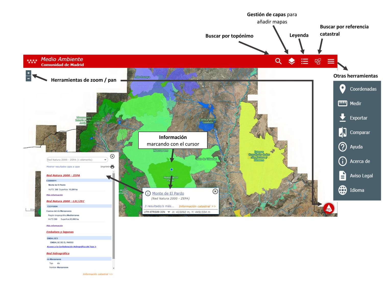Herramientas del Visor de mapas de medio ambiente