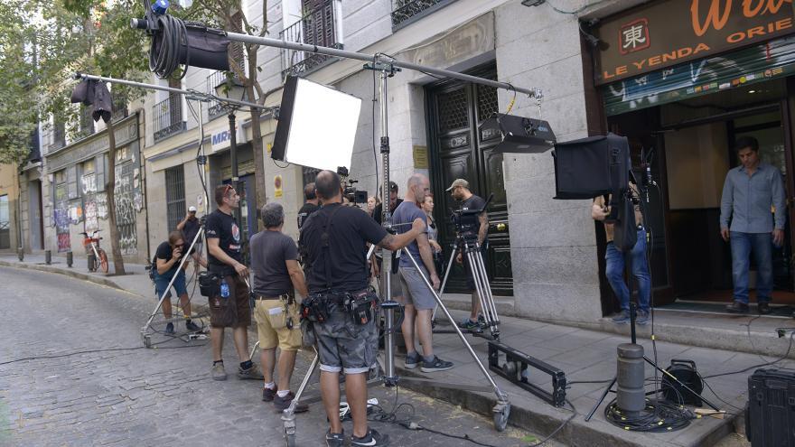 Imagen de rodaje en calle de Madrid