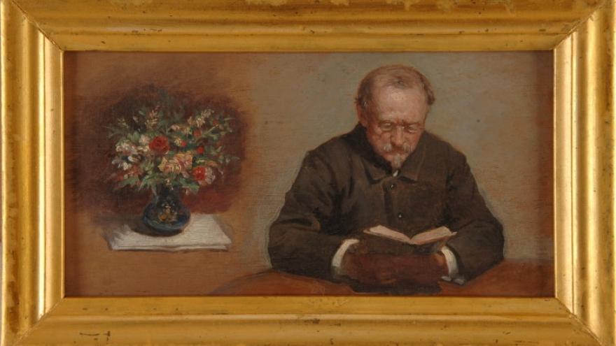 'Federico de Madrazo y Kuntz leyendo y florero' 1890 Luis de Madrazo Kuntz