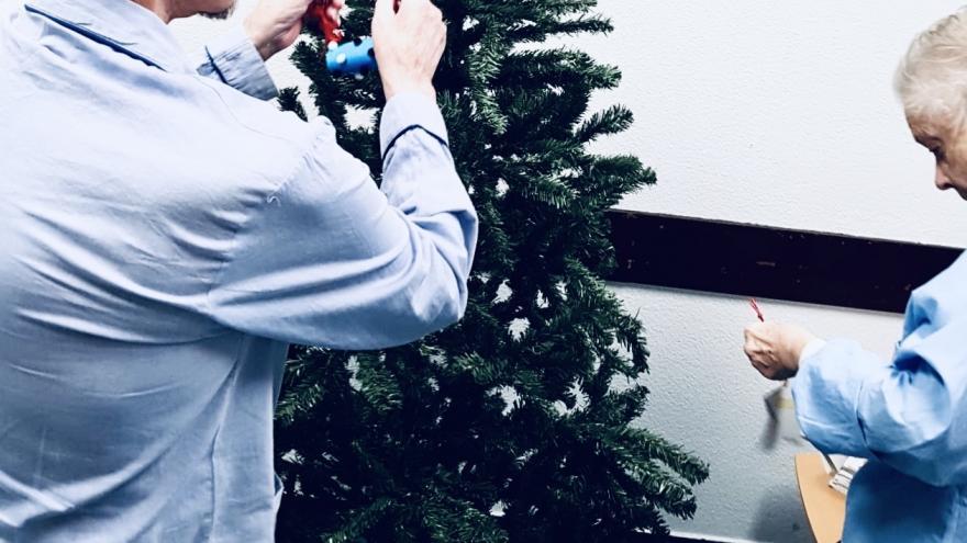 Con los adornos hechos por los pacientes pediátricos en el Aula Hospitalaria los pacientes decoraron el árbol de Navidad