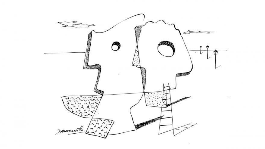 Dibujo de 2 cabezas de perfil