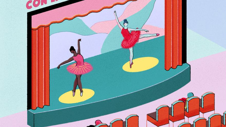 Sala de teatro con dos bailarinas