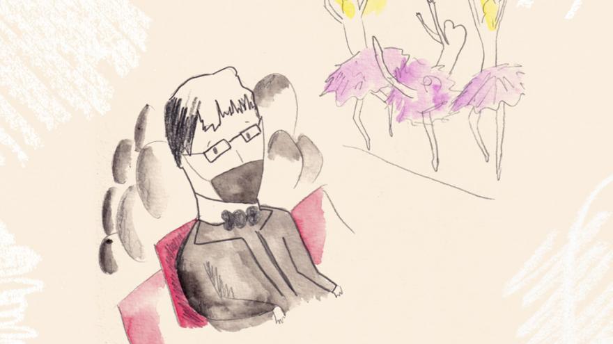 Ilustración de un hombre mirando un espectáculo de danza en un escenario