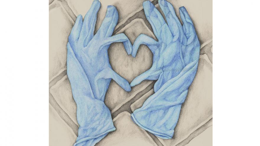 Ilustración de unos guantes haciendo un corazón con los dedos
