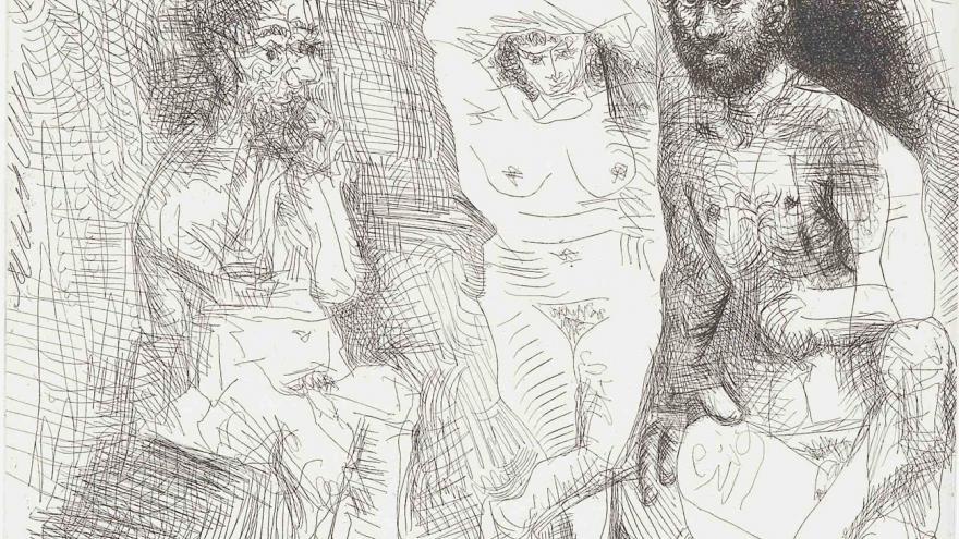 2 hombres barbudos y una mujer desnudos