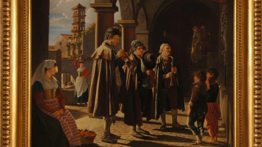 'Los piferaros en el soportal de Via Baccina de Roma' 1812. José de Madrazo Agudo