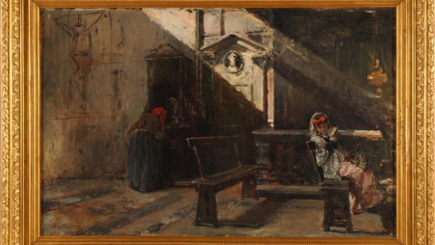 'Interior de la iglesia de la Pace Roma. La confesión' 1867-1868 Raimundo de Madrazo