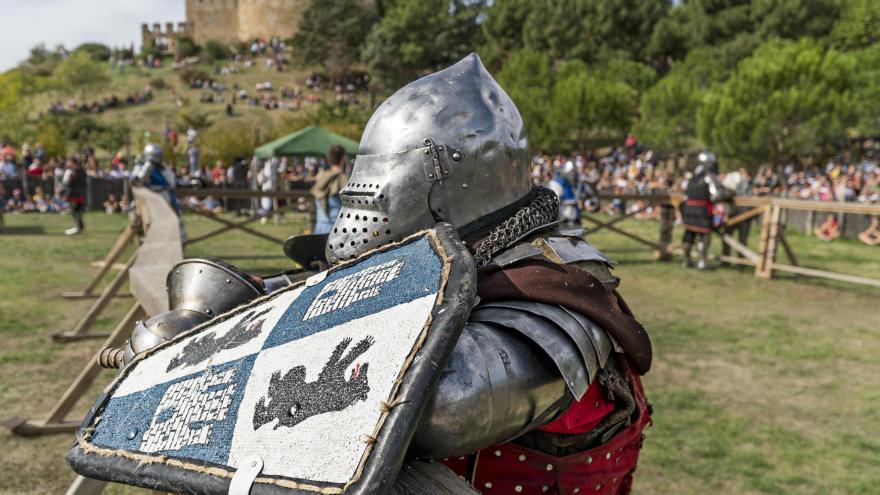 Combatiente con armadura descansando