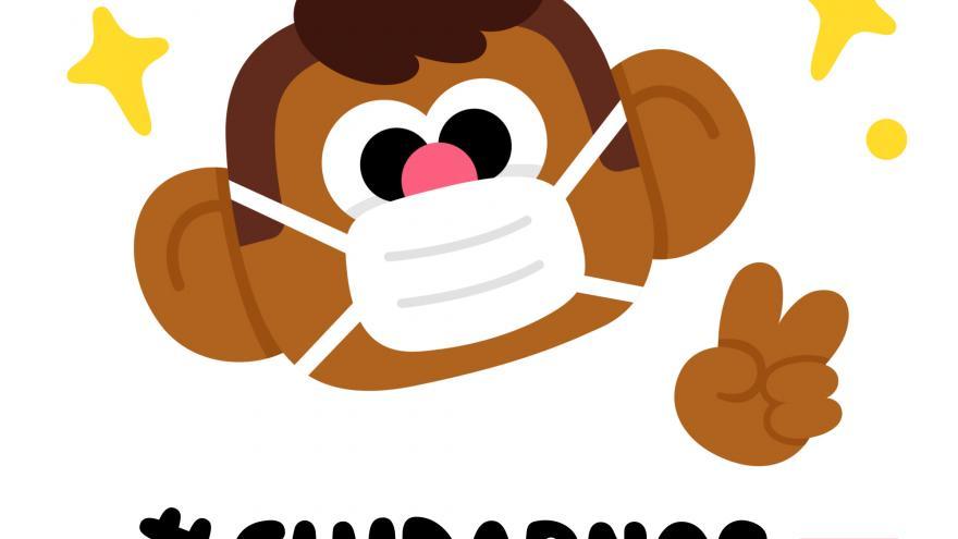 Dibujo de un muñeco saludando y con mascarilla