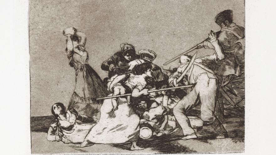 Mujeres luchando contra tropas francesas