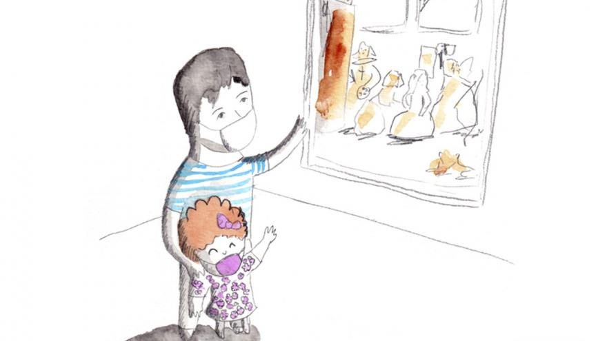 Dibujo infantil de un hombre y un niño mirando un cuadro
