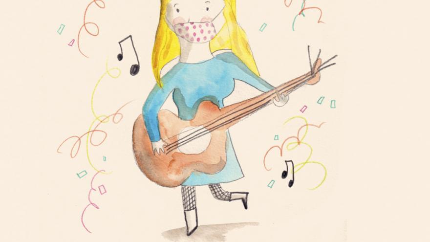 Ilustración de un personaje tocando una guitarra