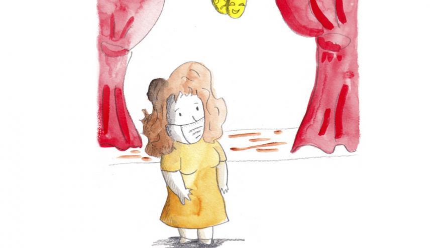 Dibujo de una mujer frente a un escenario