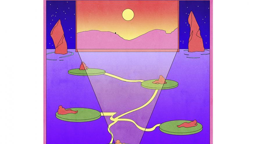 Ilustración en colores morados y naranjas