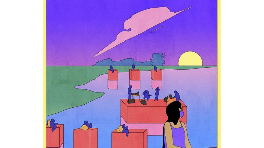 Ilustración en colores azules y rojos