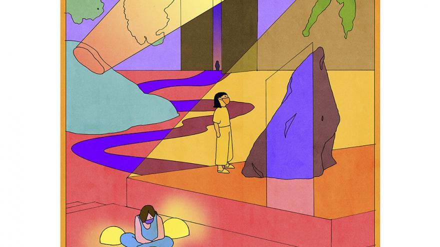 Ilustración en colores calidos