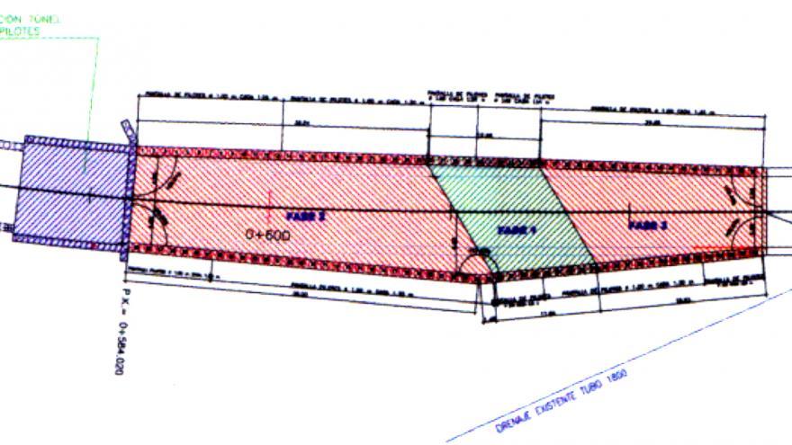 Planta del tramo de túnel entre pantallas bajo la M-40