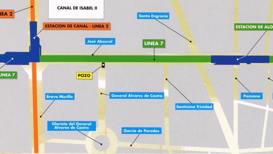 Plano de situación de las obras de prolongación de la Línea 7. Tramo: Gregorio Marañón-Cana