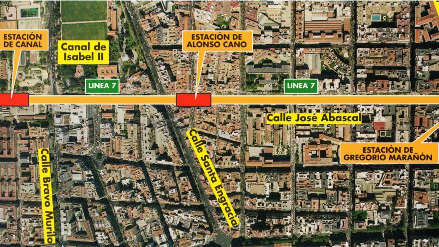 Fotografía aérea de la zona de actuación. Línea 7. Tramo: Gregorio Marañón-Canal