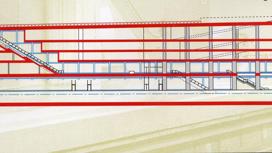 Sección longitudinal estación Alonso Cano
