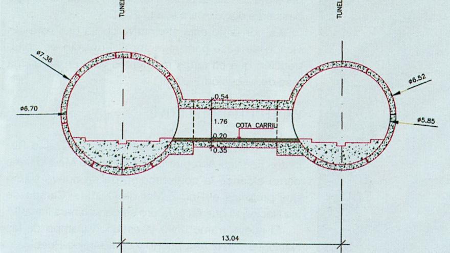 Sección transversal del doble túnel