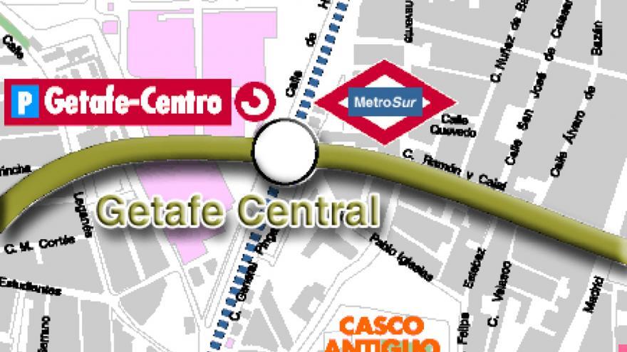 Situación del intercambiador Getafe Central