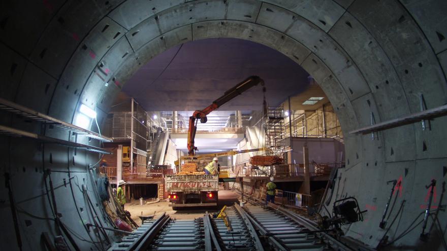 Estación Alameda de Osuna durante las obras
