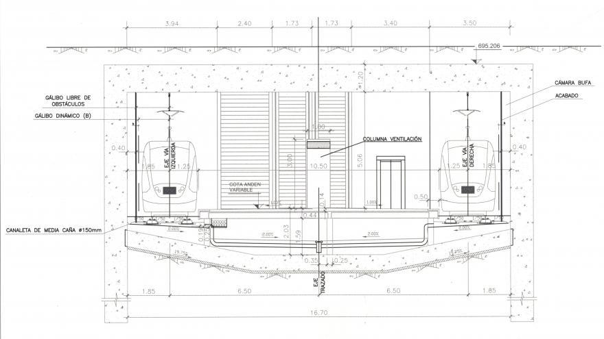 Sección transversal de la estación Fuente de la Mora