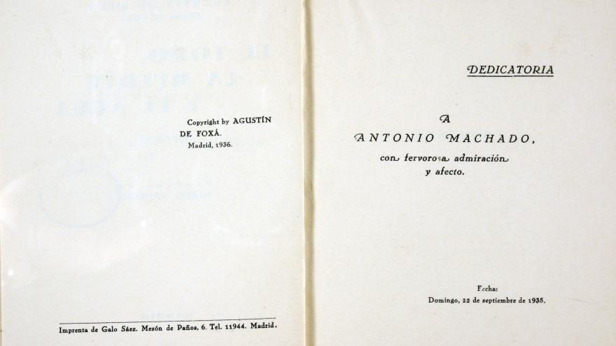 Dedicatoria de Agustín de Foxá a Antonio Machado