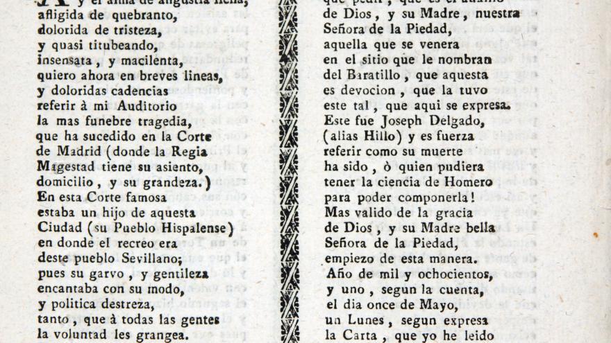 Romance de la desgraciada muerte de Pepe Hillo de 1801