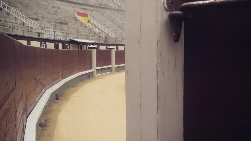 Los tendidos y el callejón vacíos, esperando llenarse por la tarde