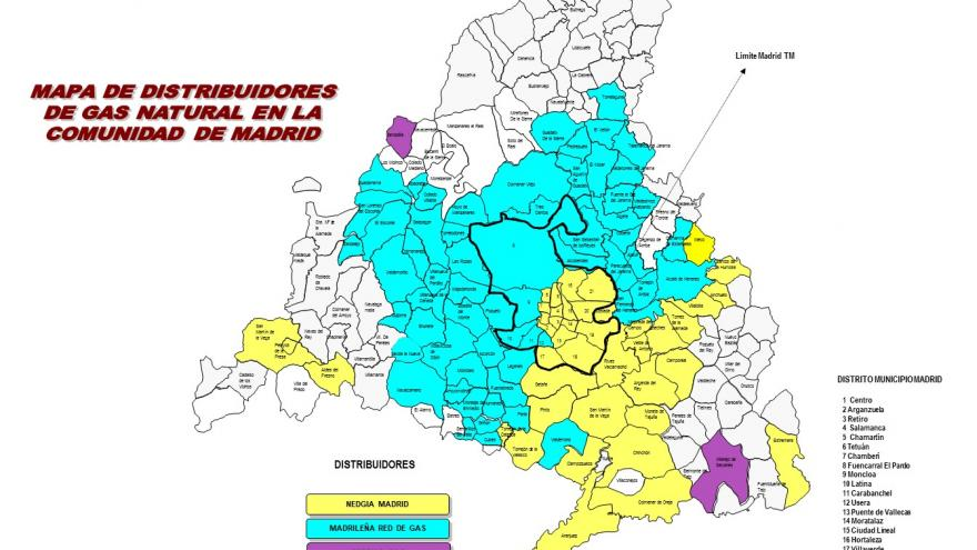 MAPA DE DISTRIBUIDORES DE GAS NATURAL POR MUNICIPIOS