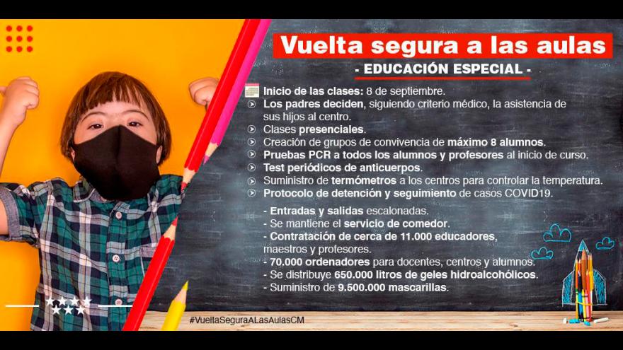 infografía recomendaciones Vuelta segura a las aulas: educación especial
