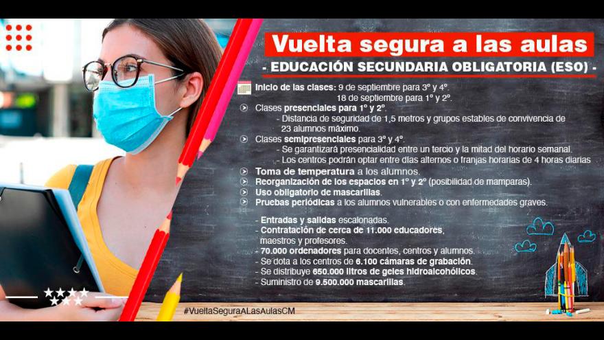 infografía recomendaciones Vuelta segura a las aulas: secundaria