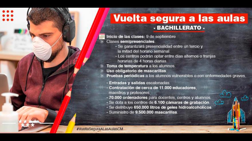 infografía recomendaciones Vuelta segura a las aulas: bachillerato