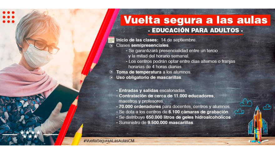 infografía recomendaciones Vuelta segura a las aulas: adultos