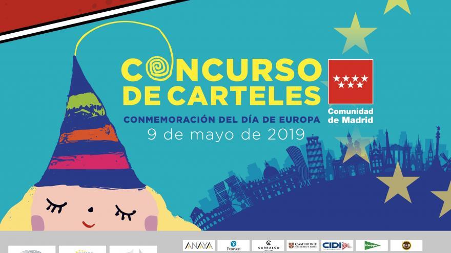 Cara de una niña con un gorro, edificios emblemáticos de la UE, las doce estrellas de la bandera de la UE y los logotipos de las empresas patrocinadoras