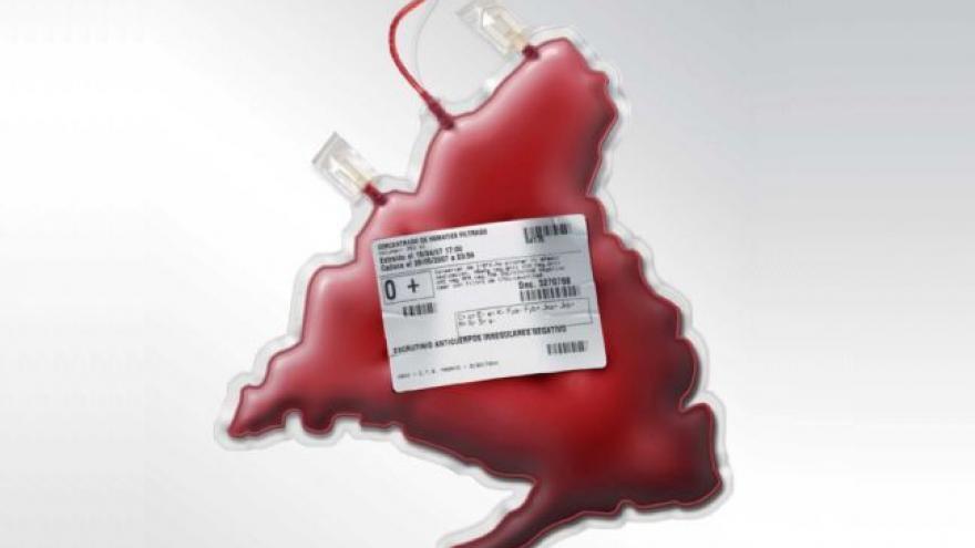 Mapa con forma de bolsa de sangre